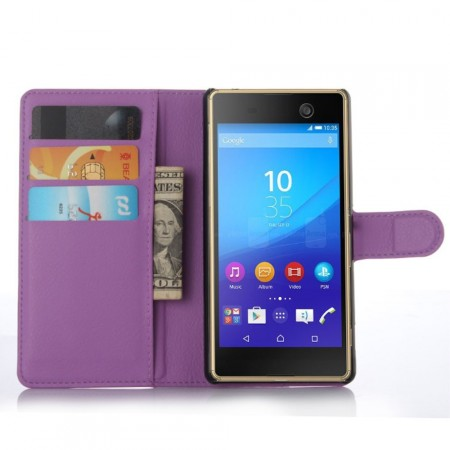 Wallet PU Leather Case for  Sony Xperia™ M5, Purple