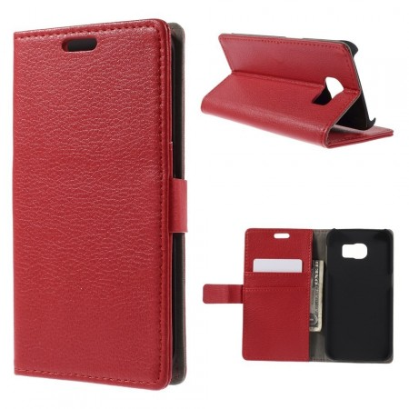 Wallet PU Leather Case for Samsung Galaxy S6 Edge, Red
