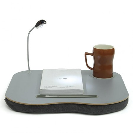 Laptop putebord med glass & koppholder og med LED-lys, 44x34cm.,Grey