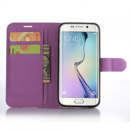 Wallet PU Leather Case for Samsung Galaxy S7 Edge, Purple