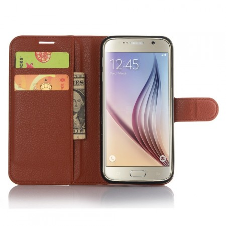 Wallet PU Leather Case for Samsung Galaxy S7, Mocca