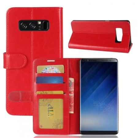 Wallet PU Leather Case for Samsung Galaxy Note 8, Red