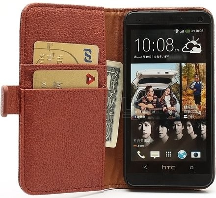 Wallet PU Leather Case for HTC One (M7), Mocca