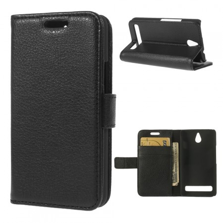 Wallet PU Leather Case for Sony Xperia™ E1 (D2005), Black