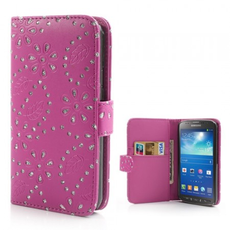 Booklet Flip PU Leather BLING-Case for Samsung Galaxy S4 Active (i9295), Rose