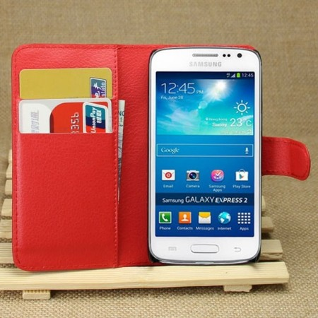 Wallet PU Leather Case Samsung Galaxy Express 2 (G3815), Red
