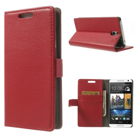 Wallet PU Leather Case for HTC Desire 610, Red