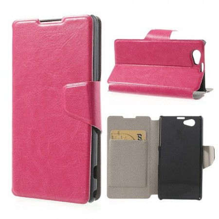 Booklet Flip PU Leather Case for Sony Xperia™ Z1 Compact,*Furro*, Pink