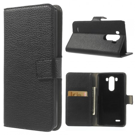Wallet PU Leather Case for LG Optimus G3 (D855), Black