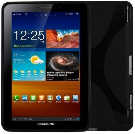 Flexi Shield Skin for Samsung Galaxy Tab 7.7,(P6800/P6810),*X-line*,Black