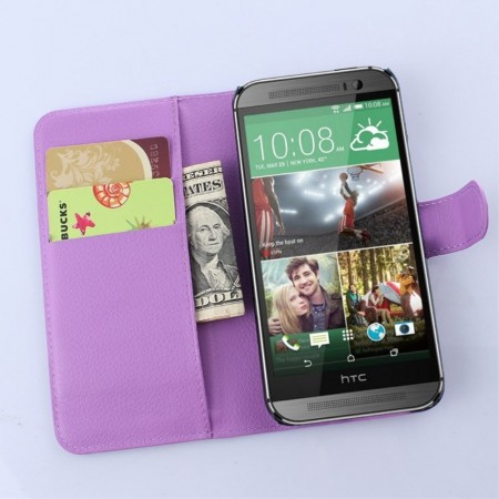 Wallet PU Leather Case for HTC One (M9),Purple