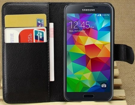 Booklet Flip PU Leather Case for Samsung Galaxy S5 mini, Black