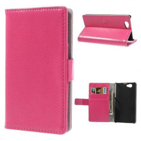 Booklet Flip PU Leather Case for Sony Xperia™ Z1 Compact, Rose