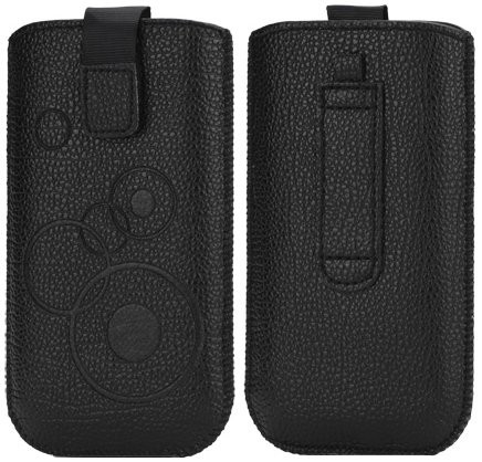 LiftBag genuine leather pouch for cell. phones, *Circle Litchi*