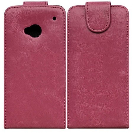 Flip PU Leather Case for HTC One (M7), Pink