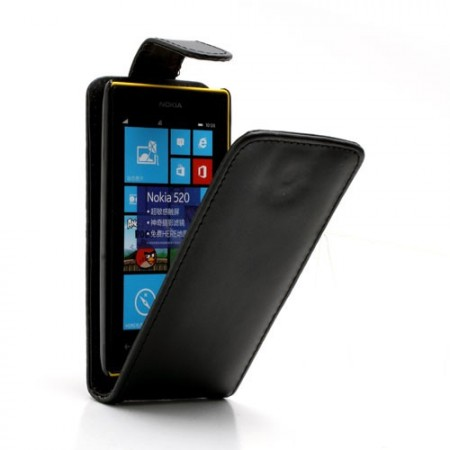 Flip PU Leather Case for Nokia Lumia 520, Black