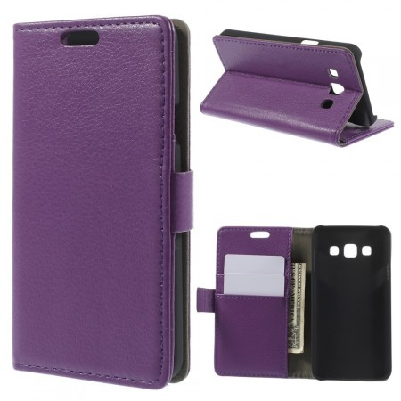 Wallet PU Leather Case for Samsung Galaxy A3, Purple