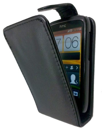 Flip PU Leather Case for HTC Desire C (A320e), Black