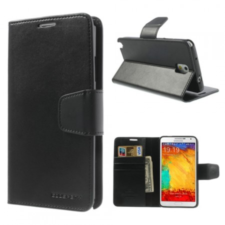 Booklet Flip PU Leather Case for Samsung Galaxy Note 3, Black