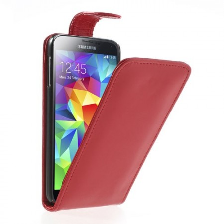 Flip PU Leather Case for Samsung Galaxy S5 (G900), Red