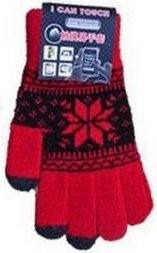 Smart Touch Gloves with *Snowflake*, Red/Black