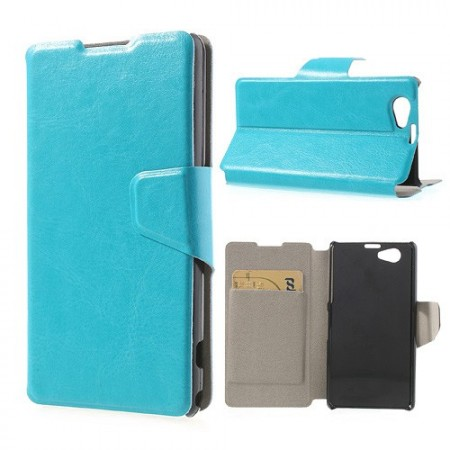 Booklet Flip PU Leather Case for Sony Xperia™ Z1 Compact,*Furro*, Blue