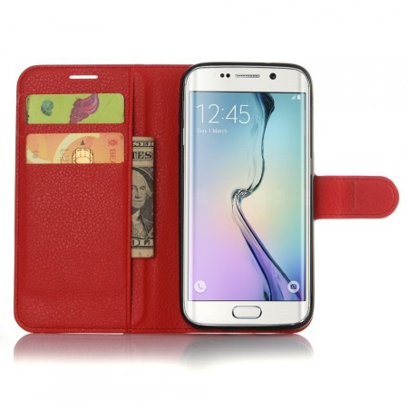 Wallet PU Leather Case for Samsung Galaxy S7 Edge, Red