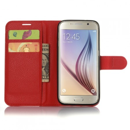 Wallet PU Leather Case for Samsung Galaxy S7, Red