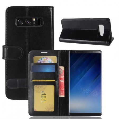 Wallet PU Leather Case for Samsung Galaxy Note 8, Black