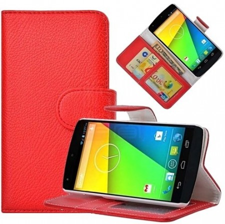 Booklet Flip PU Leather Case for LG Nexus 5 (E980), Red