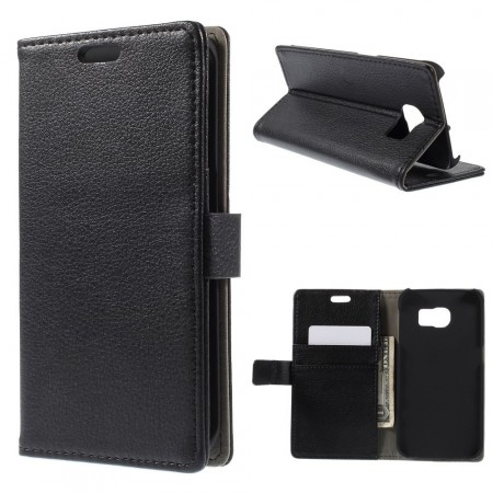 Wallet PU Leather Case for Samsung Galaxy S6 Edge, Black