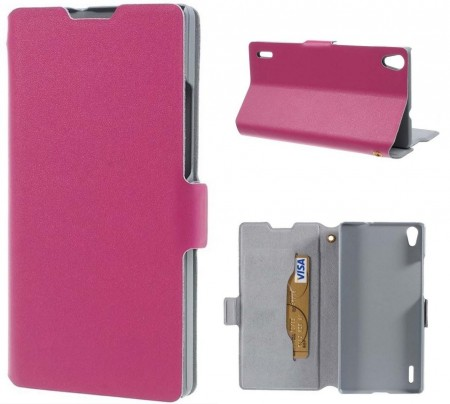 Doormoon Booklet Leather Flip Case for Huawei Ascend P7,Rose