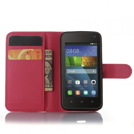 Wallet PU Leather Case for Huawei Y360, Rose
