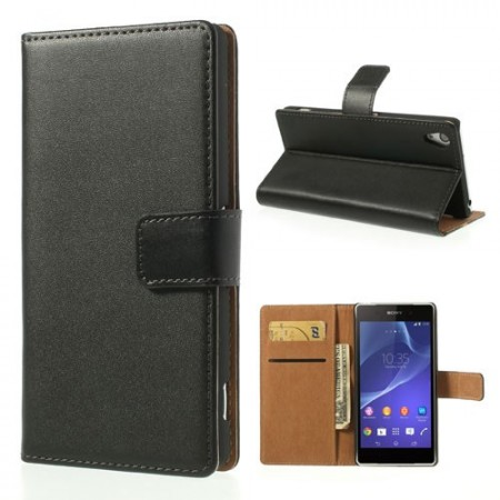 Genuine Wallet Leather Case for Sony Xperia™ Z2, Black